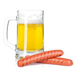 Beer mug and grilled sausages Royalty Free Stock Images