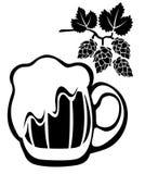 Beer mug and hop Stock Image