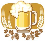 Beer mug and hop. Pattern isolated on a white background Royalty Free Stock Image