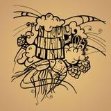 Beer mug hop shrimp stencil silhouette Stock Image