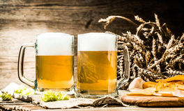 Beer mug with hop , wheat and potato chips Royalty Free Stock Photography
