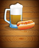 Beer mug and hot dog Royalty Free Stock Images