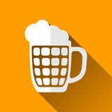 Beer Mug Icon, Long Shadows, Vector Illustration Royalty Free Stock Photos