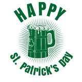 Beer Mug with the image of clover. Happy St. Patricks Day. Wooden mug with beer. Beer Mug with the image of clover. Happy St. Patricks Day. Beer label. Beer mug vector illustration