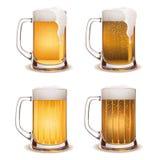 Beer mug light and dark vector. Illustration of beer mugs with light and dark beer Royalty Free Stock Photos