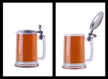 Beer mug over white Royalty Free Stock Photography