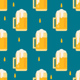 Beer mug pattern in flat style. Stock Photo