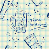 Beer mug pattern in hand drawn sketch style. Blue notebook texture Royalty Free Stock Photo