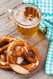 Beer mug and pretzel Royalty Free Stock Image
