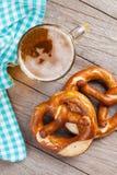 Beer mug and pretzel Royalty Free Stock Photos