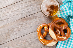 Beer mug and pretzel Royalty Free Stock Images