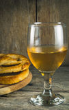 Beer mug and pretzels. On wooden table Royalty Free Stock Photos