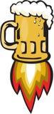 Beer Mug Rocket Ship Blasting Retro. Illustration of a beer mug with rocket burners blasting off on isolated background done in retro style Royalty Free Stock Photo