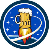 Beer Mug Rocket Ship Space Circle Retro. Illustration of a beer mug with rocket burners blasting off to space with stars and planet in the background set inside Royalty Free Stock Photography