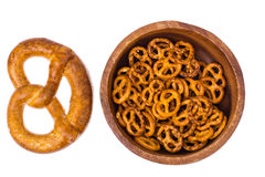Beer in mug and salted bretzels as an appetizer. Studio Photo Royalty Free Stock Images