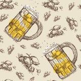 Beer Mug Seamless Pattern Oktoberfest Festival Holiday Decoration Banner. Vector Illustration Royalty Free Stock Images