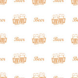 Beer mug seamless pattern. Two cheers mugs with foamy beer, seamless pattern background. vector illustration Stock Image
