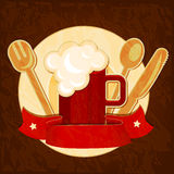 Beer mug with spoon, fork and plate. Stock Photography