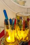 Beer mug with syringe alcohol shots, colorful ideas for Halloween thematic party Royalty Free Stock Image