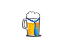 A beer mug with a tie. A beer mug with a blue tie on a white background Stock Photo