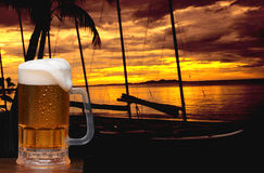 Beer Mug and Tropical Sunset Royalty Free Stock Photos