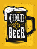 Beer Mug Vector. On yellow with text Stock Photography