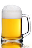 Beer Mug in Water. Mug of Beer with Froth. Reflection in Water Royalty Free Stock Photos