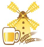 Beer mug and windmill Stock Photography
