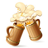 Beer mugs. Two wooden beer mugs with foam splash. Vector Illustration Royalty Free Stock Photos