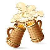 Beer mugs. Two wooden beer mugs with foam splash. Vector Illustration stock illustration