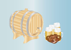 Beer mugs and barrel Stock Photos