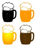 Beer mugs with bubbles Royalty Free Stock Photo