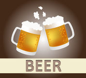 Beer Mugs Cheers. Background illustration Royalty Free Stock Images