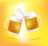 Beer Mugs Cheers. Illustration Royalty Free Stock Photography