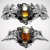 Beer mugs decorative Royalty Free Stock Image