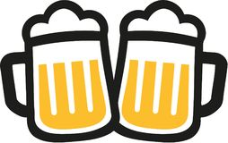 Beer mugs icons cheers. Beer mugs drinking icons cheers Royalty Free Stock Image