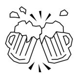 Beer mugs flat illustration on white. Everyday objects and city life series royalty free illustration