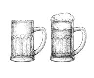 Beer mugs isolated Royalty Free Stock Photos