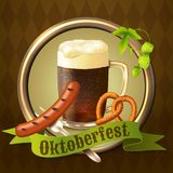 Beer mugs Octoberfest poster. Glass mug of dark beer with sausage pretzel and hop branch Octoberfest poster vector illustration Stock Photos