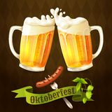 Beer mugs Octoberfest poster Royalty Free Stock Image