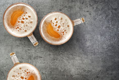 Free Beer Mugs On Gray Table Stock Photo - 89164480
