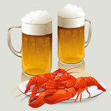 Beer mugs and a plate of crayfish Royalty Free Stock Image
