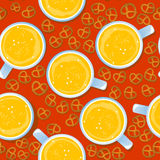 Beer mugs and pretzels pattern Stock Image