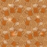 Beer mugs and pretzels seamless pattern with flashes on a geometric background Stock Image