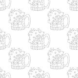 Beer mugs, seamless, contour. Seamless background with cartoon beer mugs with foam, black contour on white background Royalty Free Stock Images