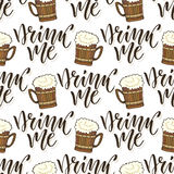 Beer mugs seamless pattern. October fest background. Drink me calligraphy text. Royalty Free Stock Image
