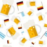 Beer Mugs Seamless Pattern Oktoberfest German Festival Holiday Decoration Banner. Vector Illustration Stock Image
