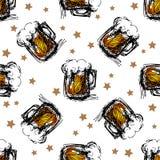 Beer mugs seamless pattern Stock Photos