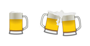 Beer mugs. Set of icons of beer mugs Royalty Free Stock Image