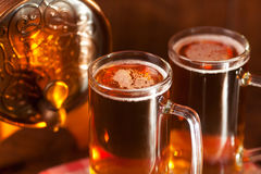Beer mugs and small barrel Royalty Free Stock Photography